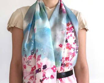 CHERRY BLOSSOM SCARF hand painted Silk Habotai/cherry blossom bouquet red ,white ,pink,charcoal, light blue sky background/original painting