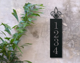 Vertical Metal Fleus de Lis Address Sign