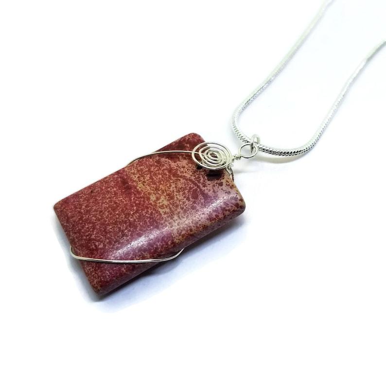 Sterling Silver Wire Wrapped Red Sea Sediment Jasper Pendant