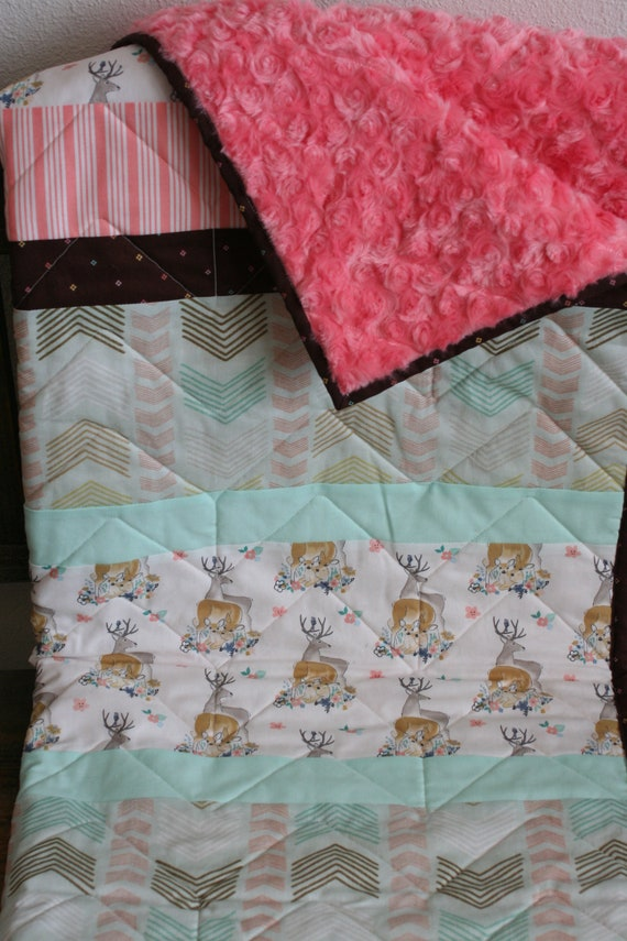 Baby deer blanket deer with flowers baby shower gift, baby girl minky blanket baby girl blanket