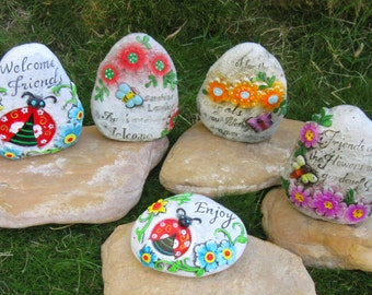 Garden Stones 5 Pc Set Gnome Flower Dragonfly Spring Outdoor Decor Cement 112Z