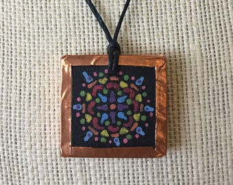 Kaleidoscope art pendant, Handpainted vibrant design, Colorful art necklace, Artsy copper jewelry, Mandala gift for women, Bohemian findings