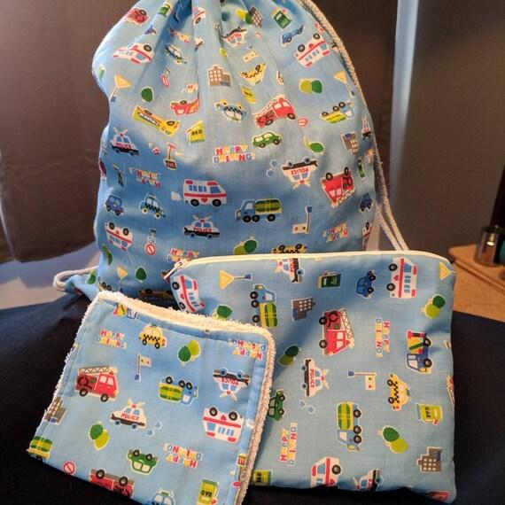 Véhicule impression laver le sac, sac de voyage, sac à cordon sur le thème voiture, accessoires, camping laver le sac de voyage