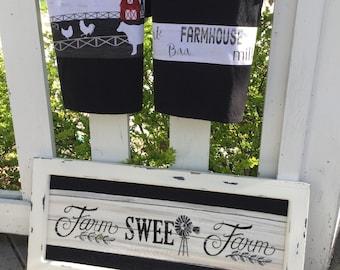 Farmhouse Style Kitchen, Black Tea Towel, Farm Country Decor Gift, Country Kitchen
