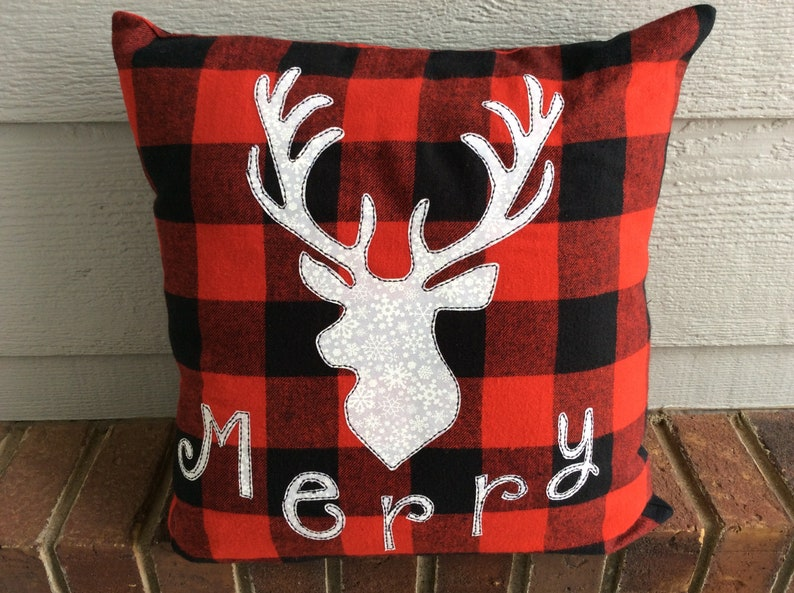 Christmas Deer, Buffalo Check Decor Pillow, Black Red 16 Inch Decorative  Couch Throw Pillow, Xmas Deer Antlers Decor
