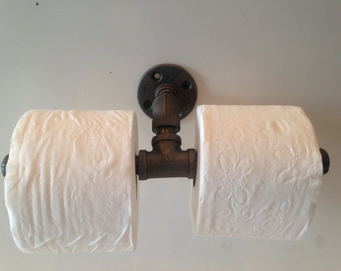 "Industrial 1/2"" or 3/4"" Pipe Double Toilet Paper Holder"