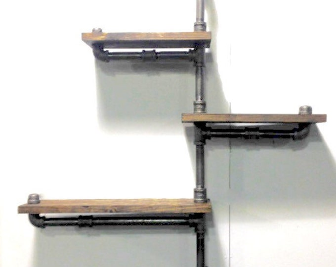 Industrial Rustic Urban Pipe Wall 3 Tiers Wooden Shelves (pick your own stain)