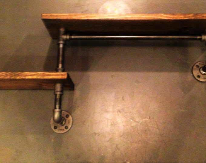 Industrial Urban Iron Pipe Two Tier shelf Design (Pick your own stain)(Pick wood size 1x6 or 1x8)