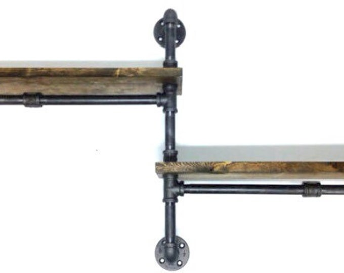 """Industrial Urban Iron Pipe 1""""x12"""" Two Tier shelf design (Pick your own stain)"""