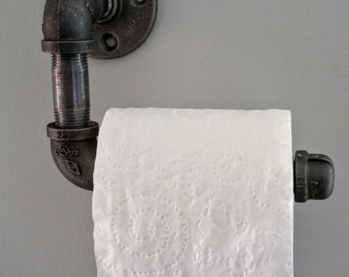 "Industrial 1/2"" or 3/4"" black pipe Toilet Paper Holder"