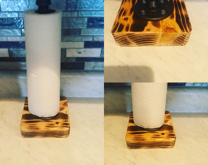 Industrial Burnt Rustic Urban Pipe Paper Towel Holder