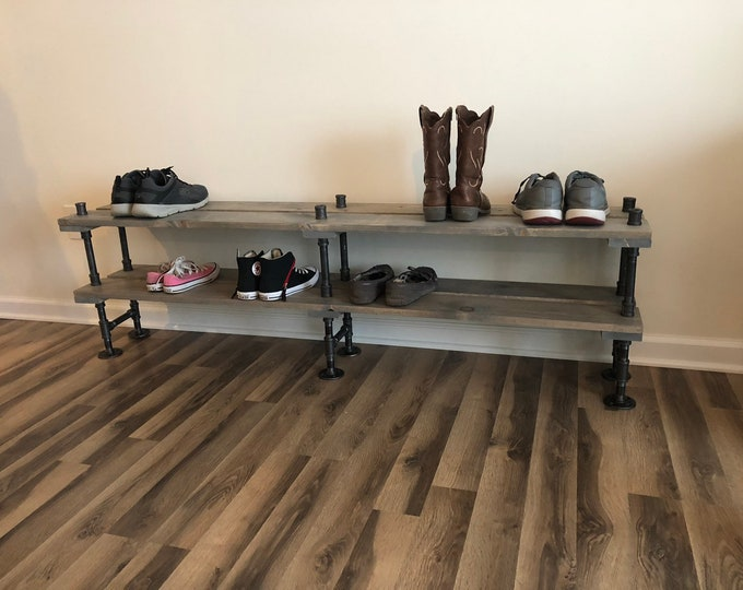 "Huge Industrial Shoe Rack, Shoe Storage, Shoe Rack, Entryway Shoe Organizer, Shoe Stand (48"", 56"" or 64"" sizes & Stain Options)"