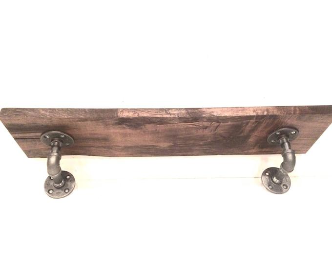 """Barn Wood Shelf, Industrial Kitchen Shelf, Rustic Wall Storage and Organization, Farmhouse -- 1""""x7 1/4""""x30"""" Barn Wood --"""