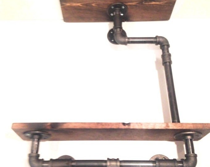 """Industrial Iron Pipe Two Tier shelf 1""""x6"""" (Pick your own stain)(Pick 1/2"""" or 3/4"""" pipe)"""
