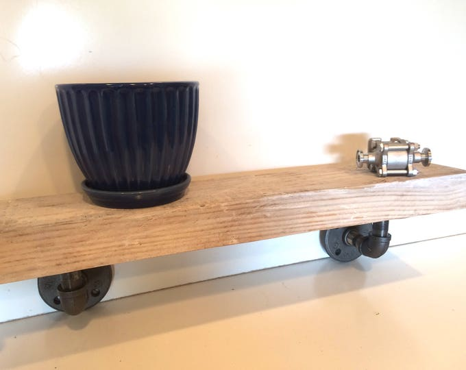 "White Washed Barn Wood Floating Shelf, Industrial Kitchen Shelf, Rustic Wall Storage and Organization, Farmhouse -- 2""x4 1/2"" ""x 13-24"""
