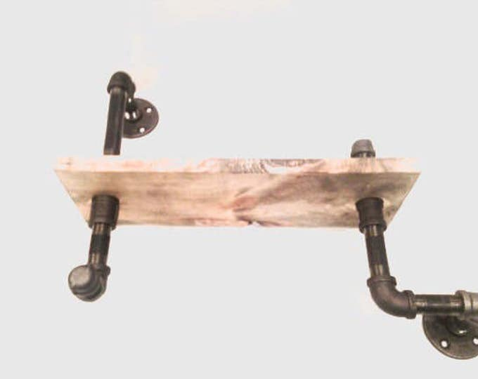 """Industrial shelf with 1/2"""" Black Pipe and 1""""X12"""" WOOD (Pick your own stain and length)"""
