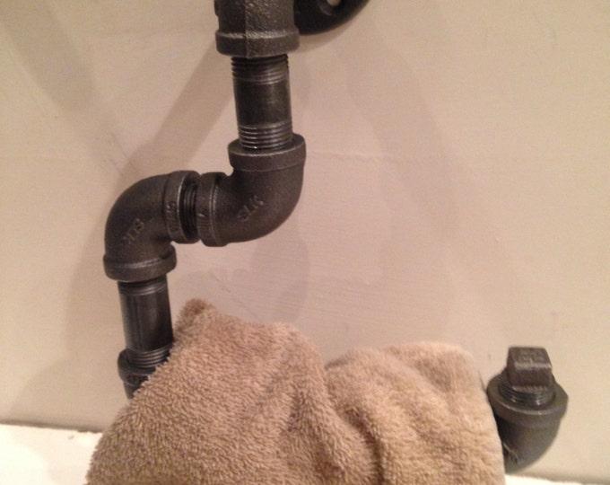 """Industrial 1/2"""" black pipe towel holder"""