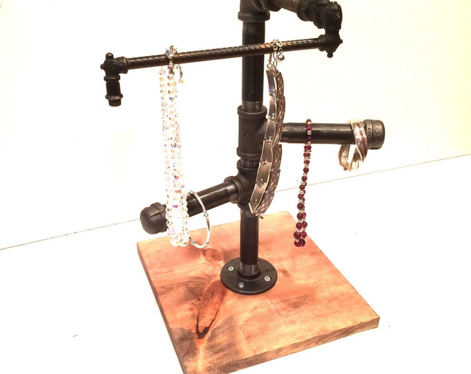 Industrial Pipe Jewelry Stand with movable top bar