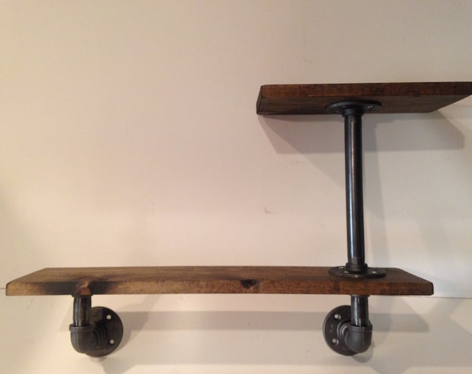 """Industrial Iron Pipe 36"""" and 18"""" Two Tier shelf 1""""x6"""" (Pick your own stain)"""