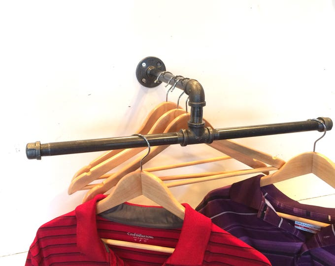 "24"" Urban Industrial Pipe Wall Rack -- Clothing Rack, Closet Organization & Retail Display --"