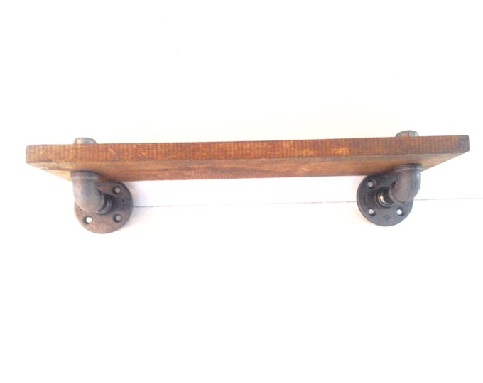 "Industrial Iron Pipe Shelf and 1""x6"" Wood (Pick your own stain) & (Pick your size 12"", 14"", 16"", 18"",20"",22"", or 24"")"