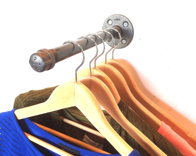 "Urban Industrial Pipe Wall Rack in 4"", 5"", 6"", 8"", 10"" or 12"" - Clothing Rack, Closet Organization & Retail Display"