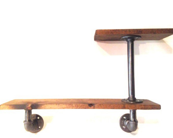 """Industrial Urban Iron Pipe Two Tier shelf 1""""x12"""" (Pick your own stain)(Pick 1/2"""" or 3/4"""" pipe)"""
