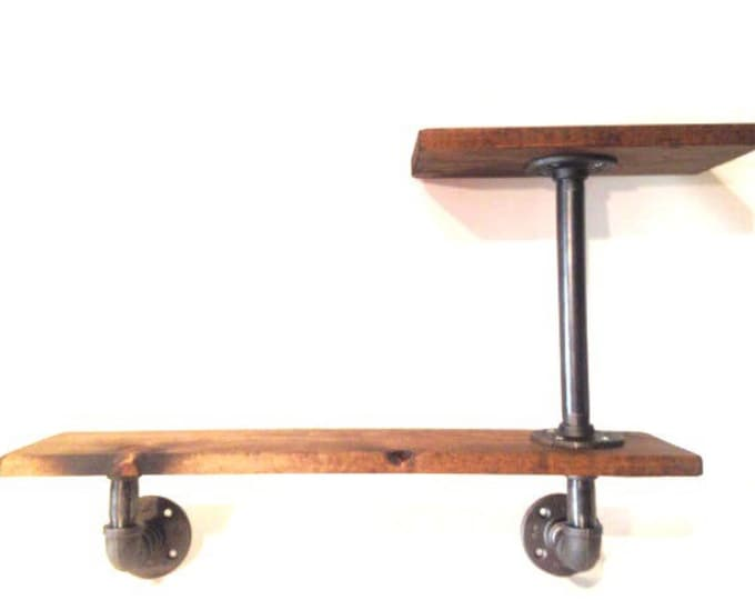 "Industrial Urban Iron Pipe Two Tier shelf 1""x8"" (Pick your own stain)(Pick 1/2"" or 3/4"" pipe)"