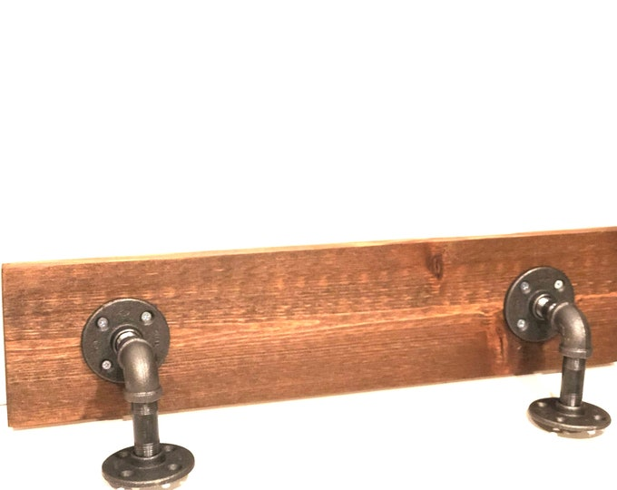 "Industrial Urban Shelf made with 1/2"" Pipe and 1""x6"" Cedar Wood (Pick your own stain) & (Pick your size 12""-36"")"