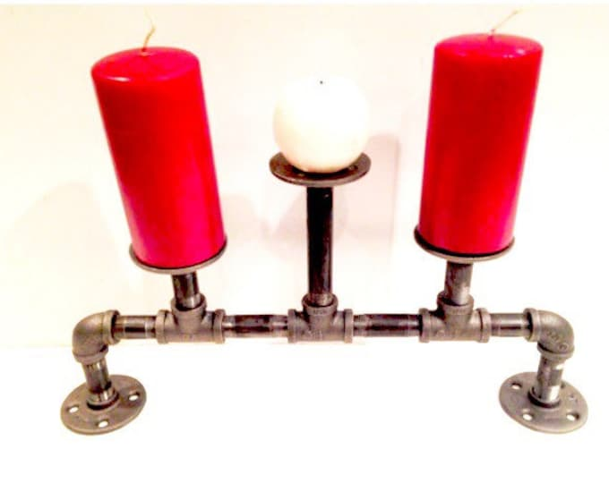 Industrial candelabra (Holds three candles)