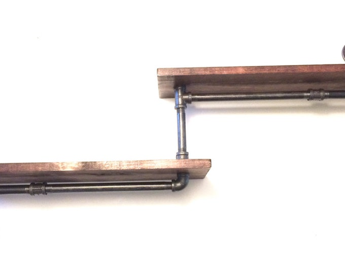 """Industrial Rustic Urban Iron Pipe two 24"""" Tier shelves (Pick your own stain)(Pick wood size 1x6 or 1x8)"""