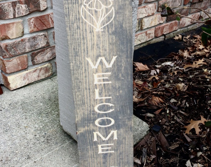 Welcome Sign With Flowers (Carved)(Pick your own Stain)