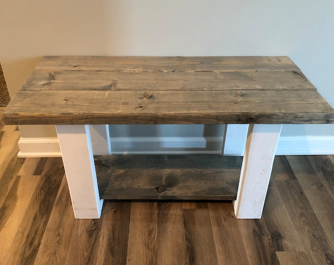 Farmhouse Bench with Shoe Rack  (Pick your own stain)