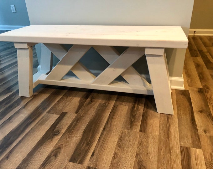 Farmhouse Rustic Double X Bench