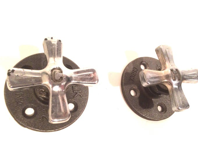 Hot & Cold Industrial Faucet Handle - Wall Hook