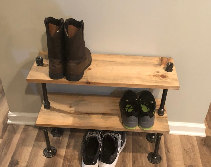 Industrial Shoe Rack, Shoe Storage, Shoe Rack, Entryway Shoe Organizer, Shoe Stand (Different Sizes & Stain Options)