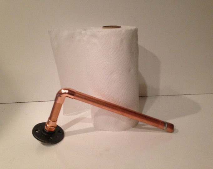 """Wall mount Industrial 3/4"""" Copper Pipe Paper Towel Holder"""