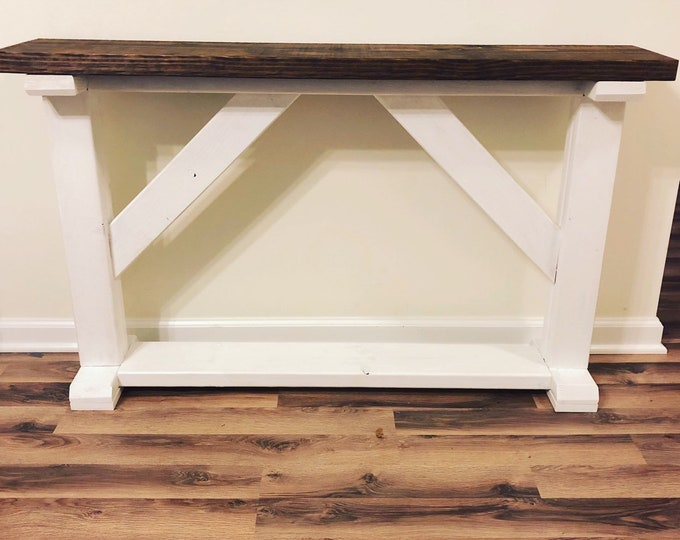 Farmhouse Rustic Entryway Table, Console Table, Sofa Table (Pick your own stain & size)