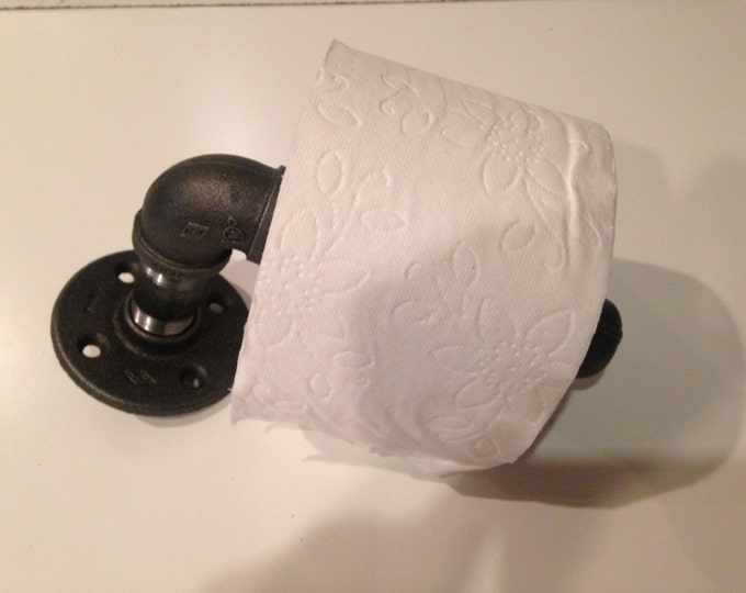 "Industrial 3/4"" Black Pipe Toilet Paper Holder, Prefect Industrial Decor"