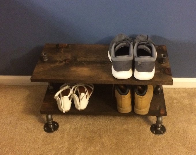Industrial Shoe Rack, Shoe Storage, Shoe Rack, Entryway Shoe Organizer, Shoe Stand (Size & Stain Options)