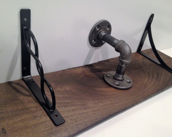 """24"""" Industrial shelf made from poplar and *** Pick your own bracket style ***"""