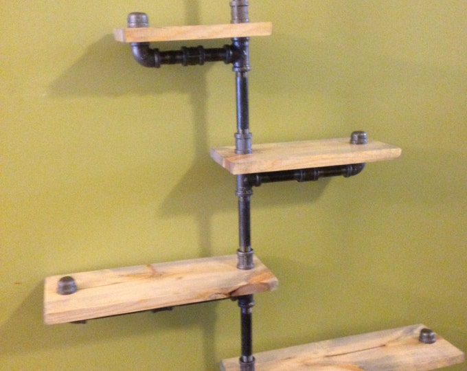 Industrial Urban Iron Pipe Four Tier shelf design (1x8)(Pick your own stain)