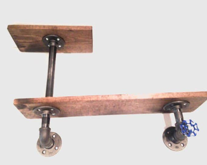 """Industrial Iron Pipe Two Tier shelf 1""""x8"""" with Blue faucet handle (Pick your own stain)(Pick 1/2"""" or 3/4"""" pipe)"""