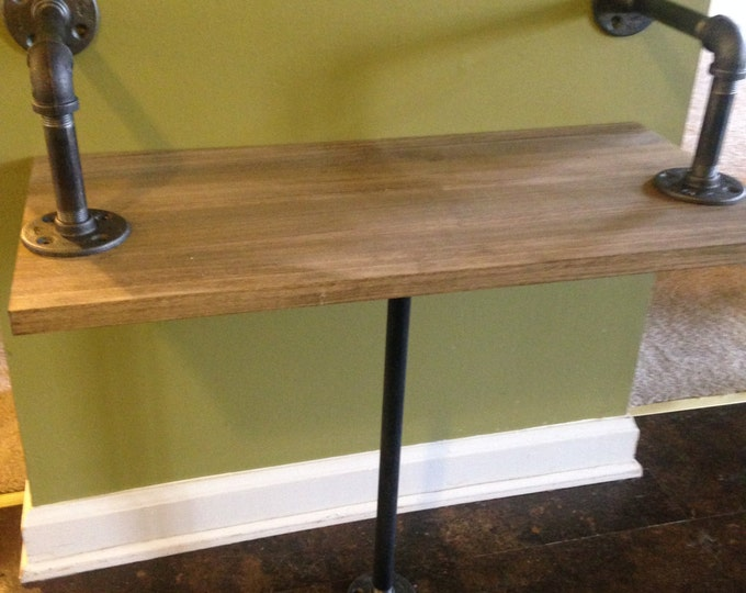 """Industrial Rustic Urban Iron Pipe Bench made (pick your own stain) (1/2"""" or 3/4"""" pipe)"""