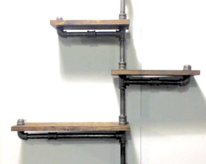 Big Industrial Rustic Urban Pipe Wall 3 Tiers Wooden Shelves (pick your own stain)
