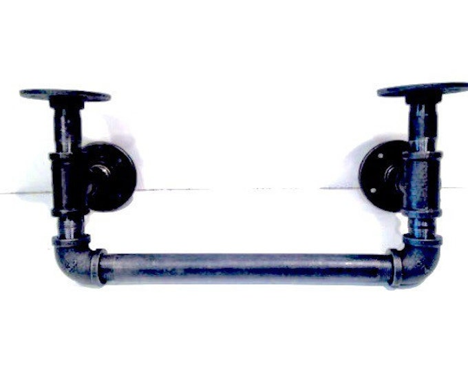 "Industrial black pipe shelf bracket (Pick 1/2"" or 3/4"" pipe)(Choice your own depth 3"", 4"", 5"" or 6"")"