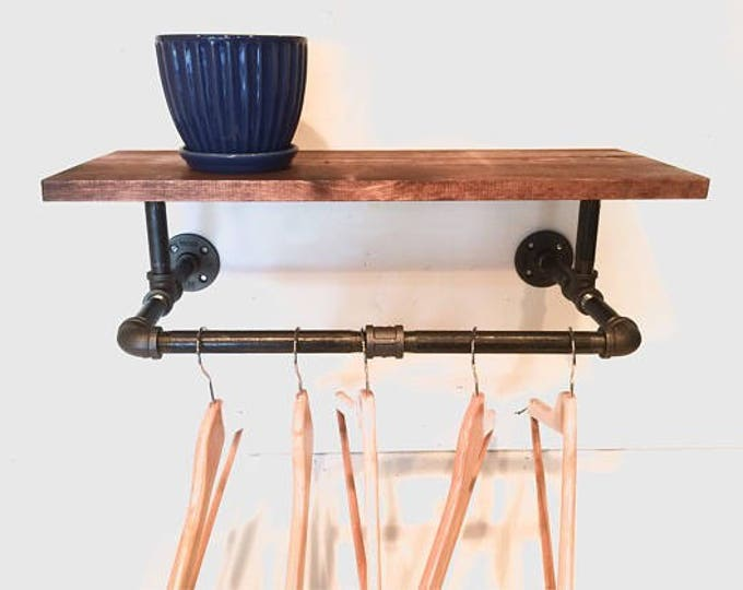 "Clothing Rack, Pipe Rack, Rustic Laundry Rack Sign with a touch Industrial Style with 30"" Shelf (Stain Options)"