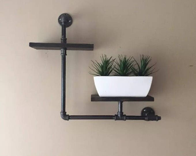 """Industrial Iron Pipe Two Tier shelf (Pick your own stain)(Pick 1/2"""" or 3/4"""" pipe)"""