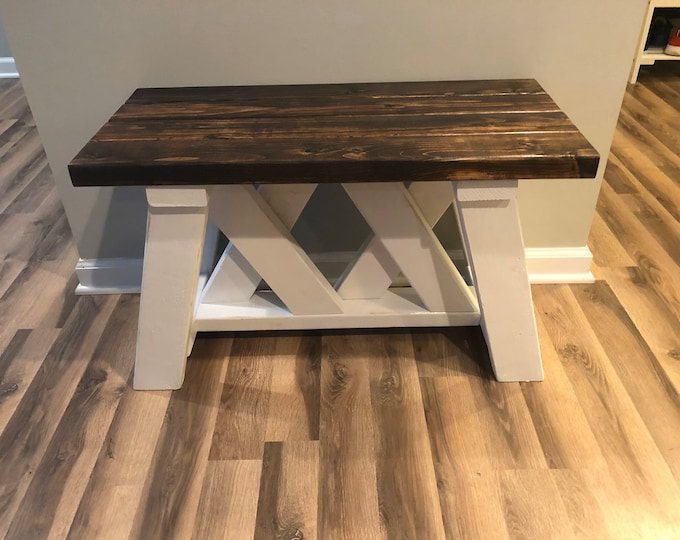 Farmhouse Rustic Two Tone Double X Bench