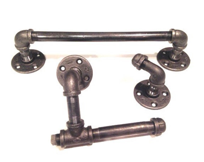 "Industrial bathroom set -- black pipe with toilet paper holder, robe hook, and 12"",14"", or 20"" towel holder"
